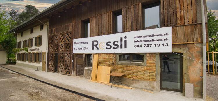 Werbebanner für Restaurant Rössli